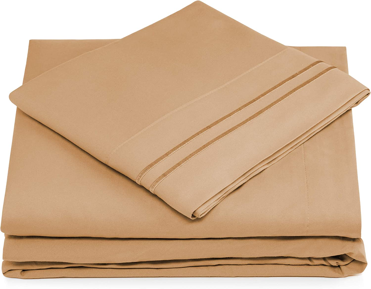 Split King Bed Sheets - Taupe Luxury Sheet Set - Deep Pocket - Super Soft Hotel Bedding - Cool & Wrinkle Free - 2 Fitted, 1 Flat, 2 Pillow Cases - Light Brown SplitKing Sheets - 5 Piece
