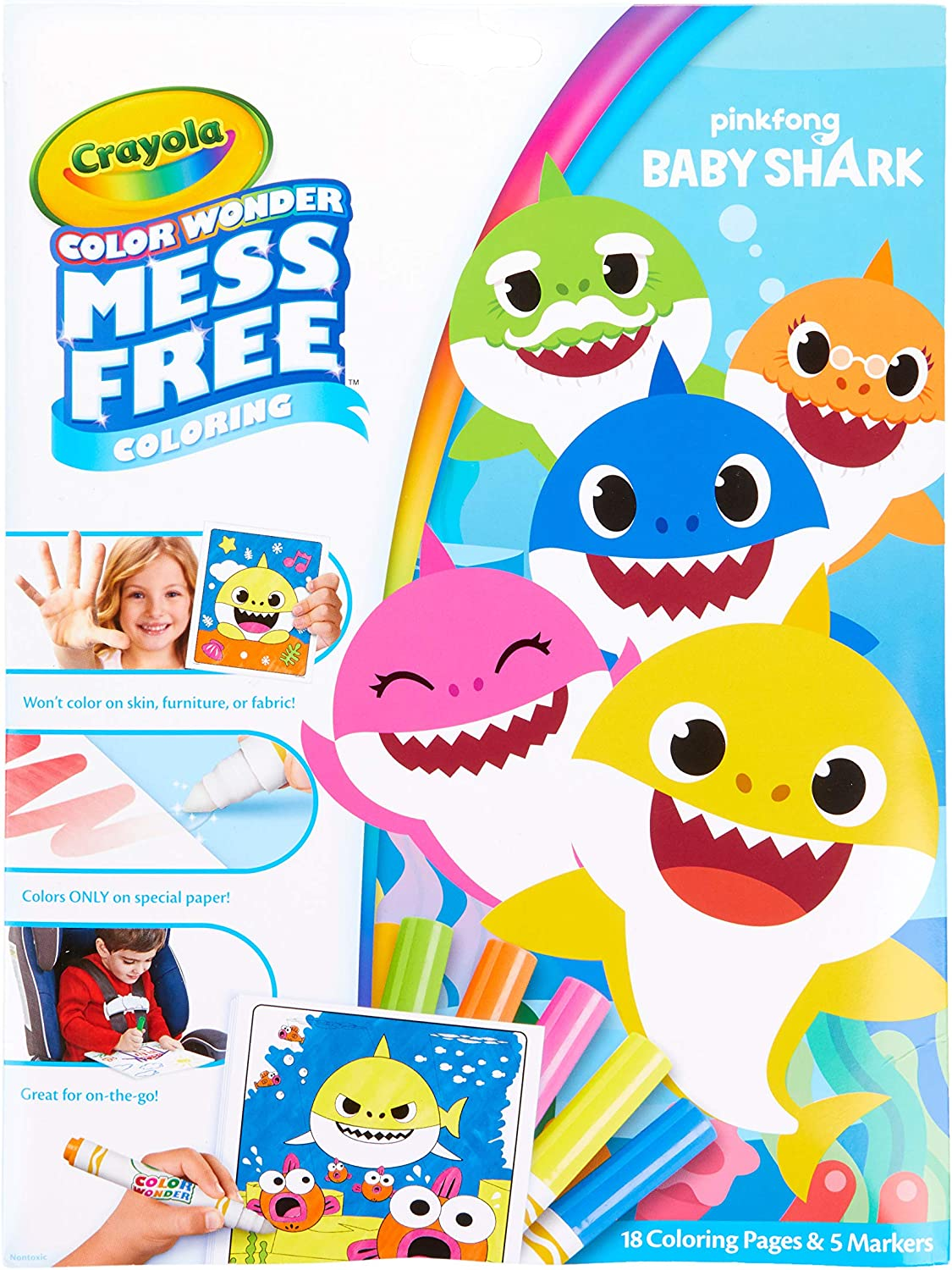 Amazon.com: Crayola Color Wonder Baby Shark Coloring Pages, Mess ...