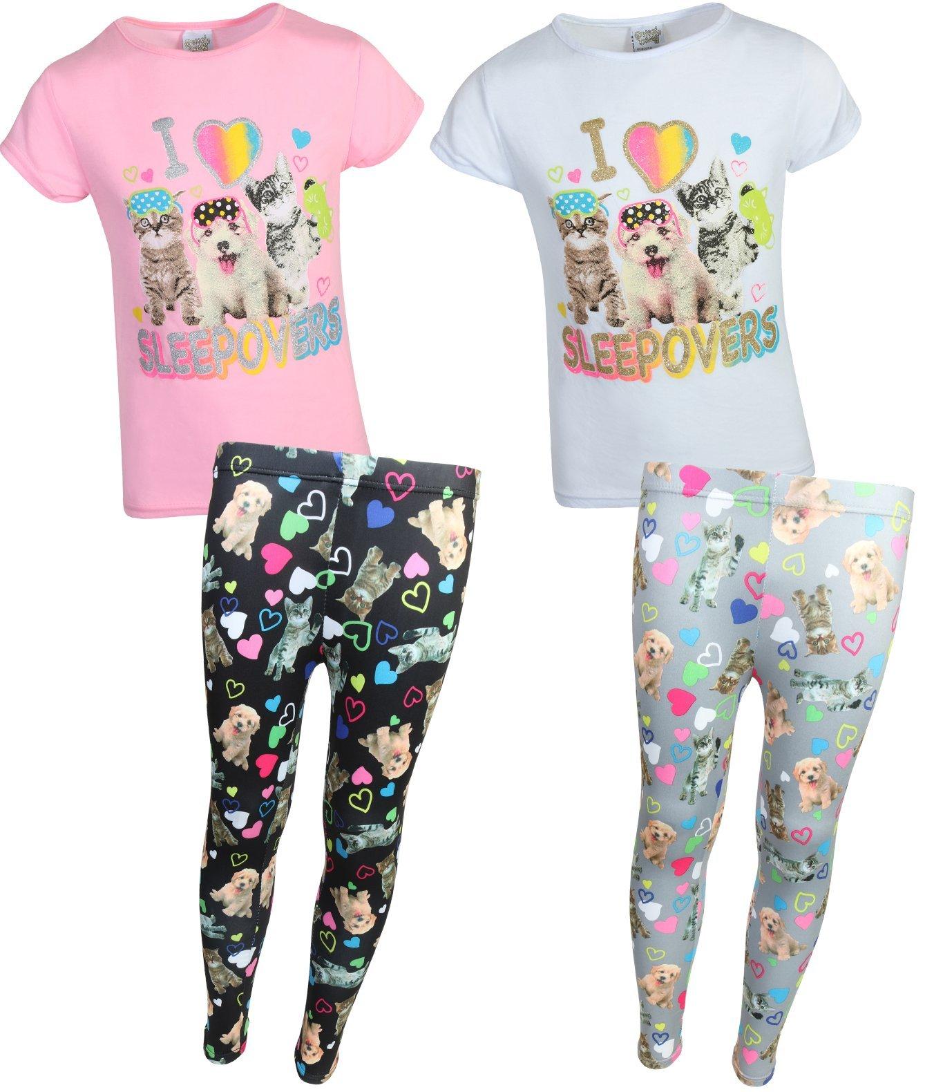 Sweet & Sassy Girls' Pajama Top with Legging Pants (2 Pack), Sleepovers, Size 5-6'
