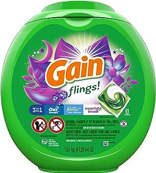 81-Count Gain Flings Moonlight Breeze Laundry Detergent Pacs