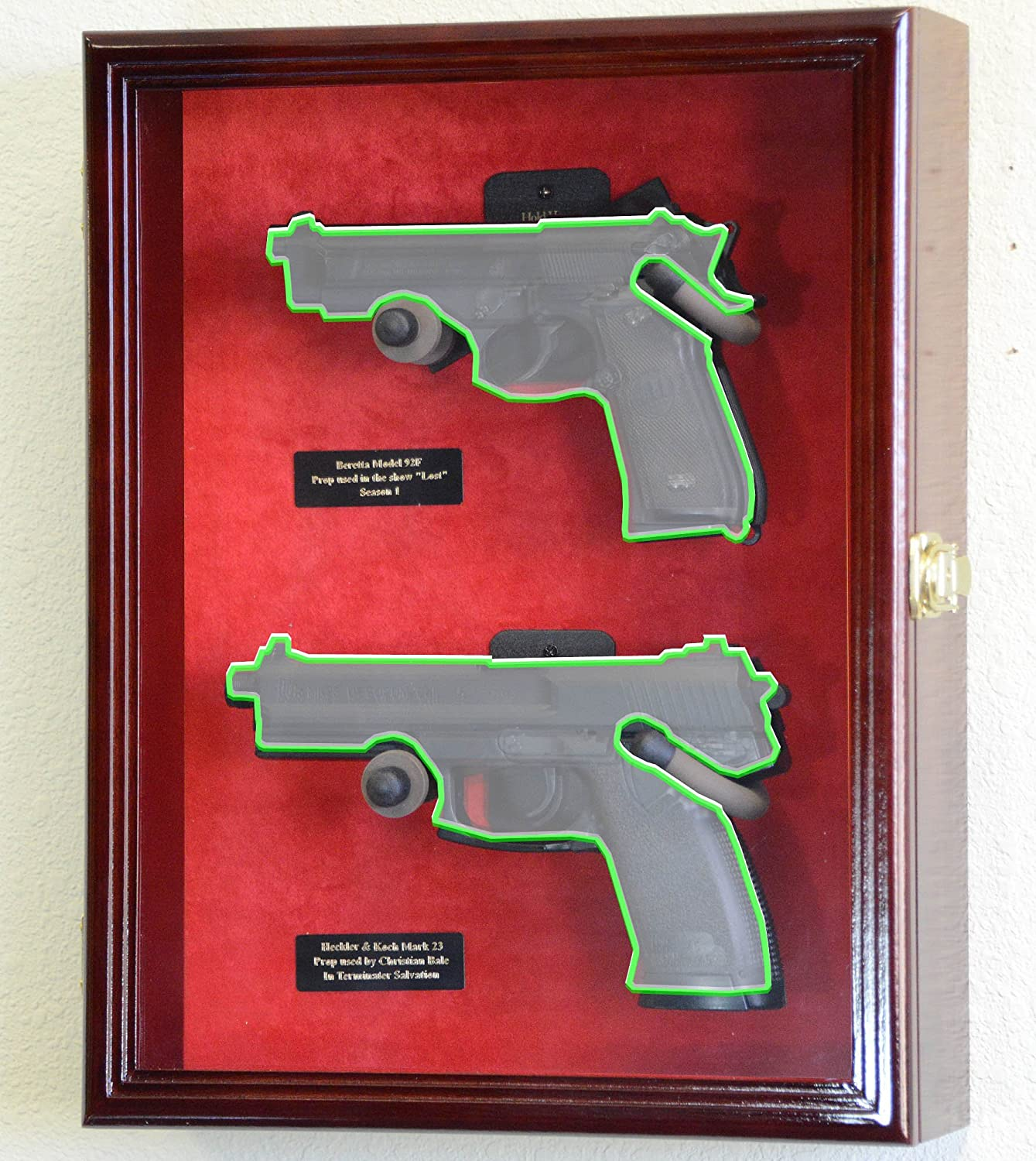 Amazon.com : Large/ Double 2 Pistol Handgun Revolver Gun Display ...