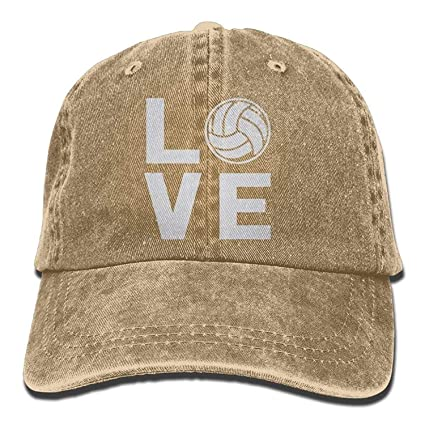 Amazon.com   GlyndaHoa Love Volleyball Hat Snap-Back Hip-Hop Cap Baseball  Hat Head-Wear Cotton Trucker Hats Black   Sports   Outdoors 20665a595d49