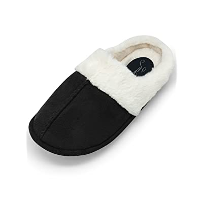 Womens Memory Foam Indoor/Outdoor Slippers, Plush Wool-Like Fur Lined Cozy House Shoes   Slippers