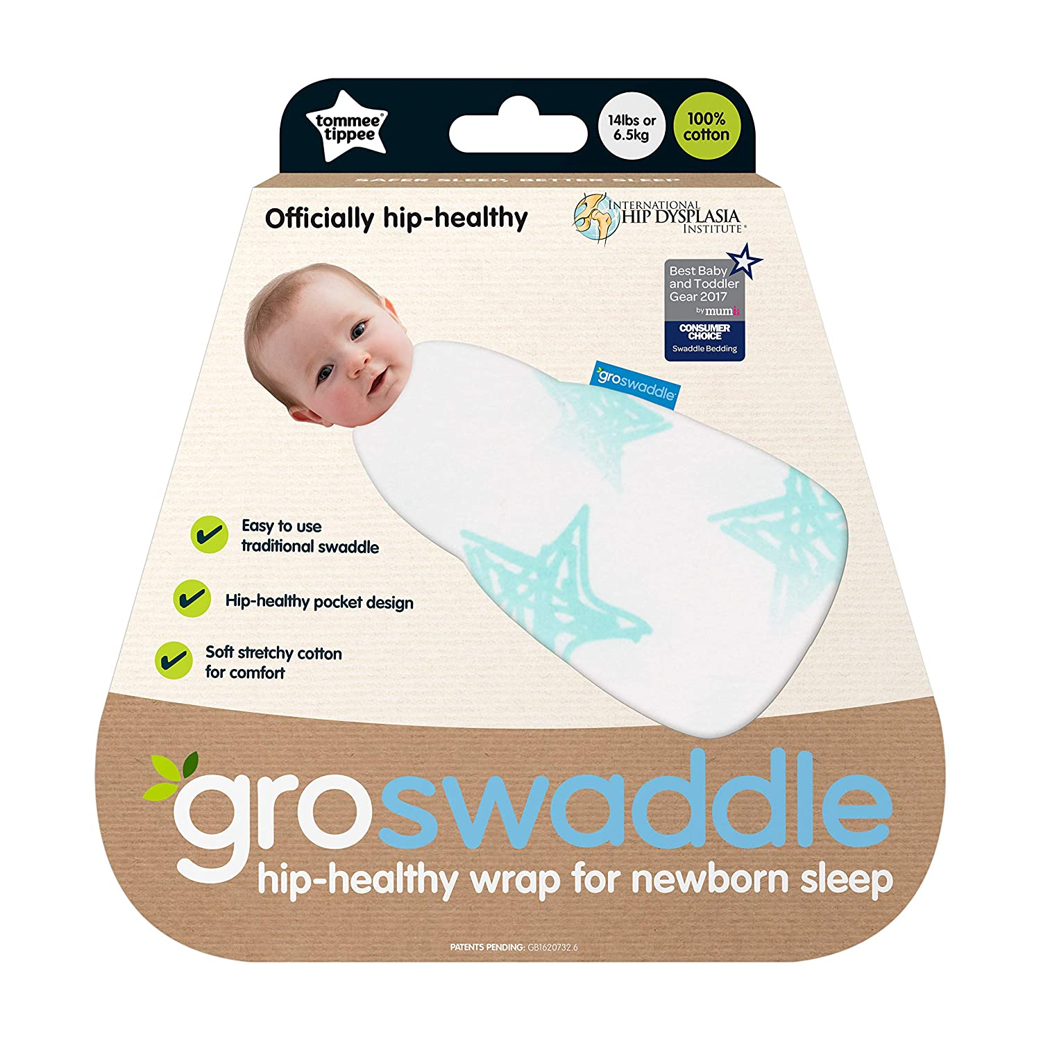 e8546c2af3d Amazon.com  Tommee Tippee Groswaddle Newborn Baby Cotton Hip-Healthy Swaddle  Alternative - Star Bright - Birth to 12lbs