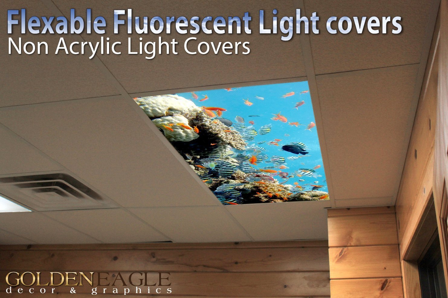 Ocean Reef - 2ft x 4ft Drop Ceiling Fluorescent Decorative Ceiling Light Cover Skylight Film