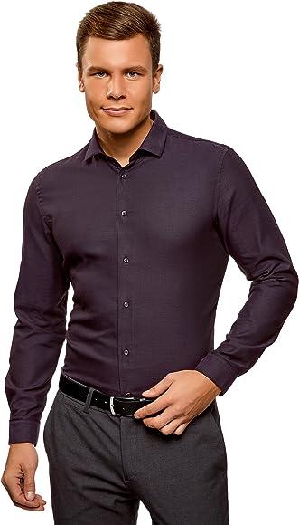 oodji Ultra Hombre Camisa Slim de Jacquard, Morado, 40: Amazon.es: Ropa y accesorios