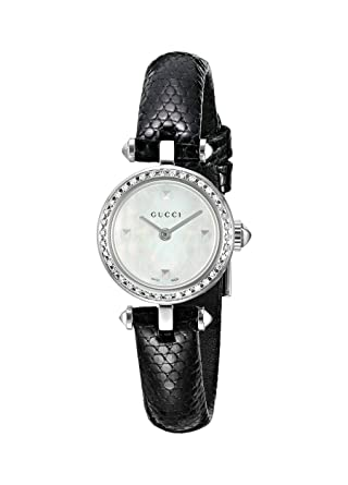2b5f64e4df2 Image Unavailable. Image not available for. Color  Gucci Swiss Quartz  Stainless Steel and Leather Dress Black ...