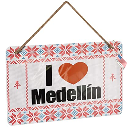 Christmas In Colombia South America.Amazon Com Neonblond Metal Sign I Love Medellin Region