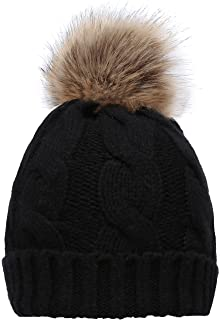 40464a49336 NEOSAN Women s Winter Ribbed Knit Faux Fur Pompoms Chunky Lined Beanie Hats