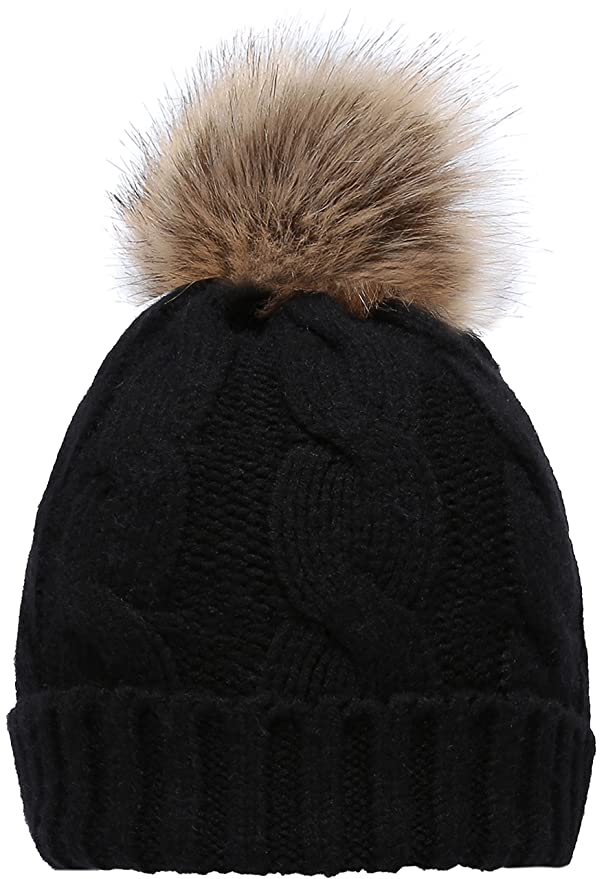 7919452f52a NEOSAN Women s Winter Ribbed Knit Faux Fur Pompoms Chunky Lined Beanie Hats  Twist Black at Amazon Women s Clothing store
