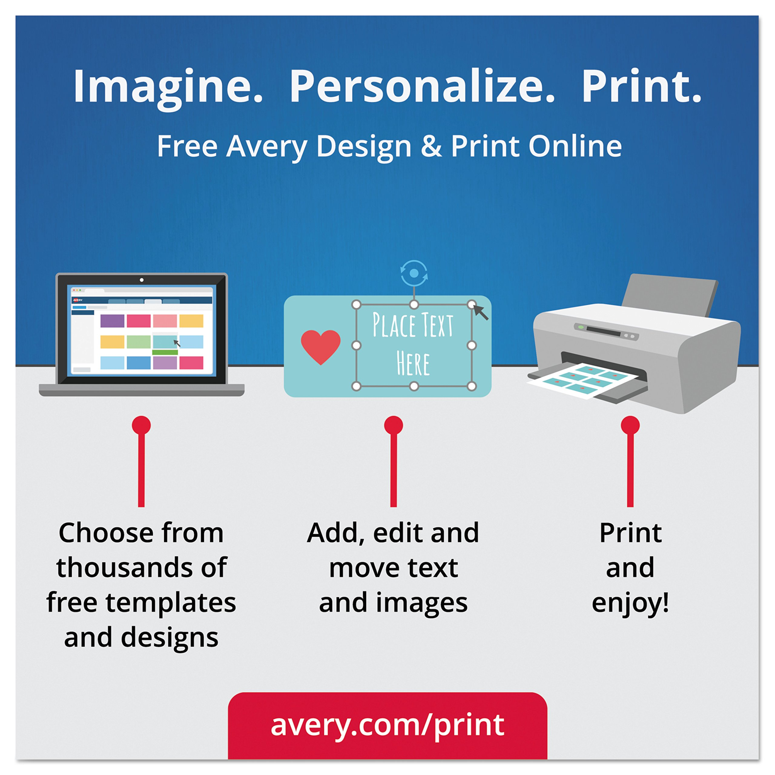 Avery Textured Print-To-The-Edge Arched Labels, Laser Printers, 3 x 2.25-Inches, White, Pack of 90 (22809) by Avery (Image #10)