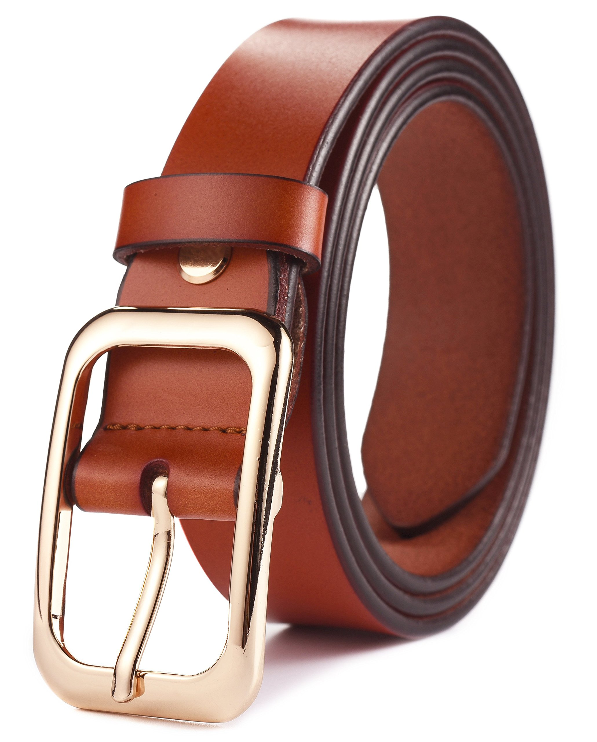 Ayli Women's Jean Belt, Gold Color Classic Buckle Genuine Leather Belt, Free Gift Box, Brown, Fits Waist 28'' to 29'' (US Pant Size 6-8), bt6b503br095