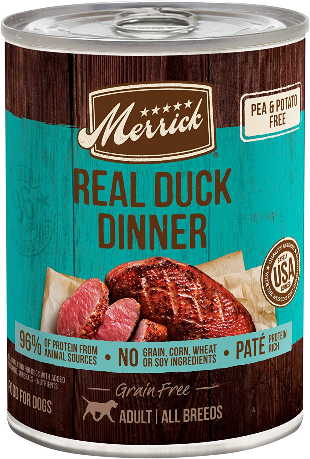 Merrick Grain Free Canned Wet Dog Food Real Meat Recipe (Case of 12)