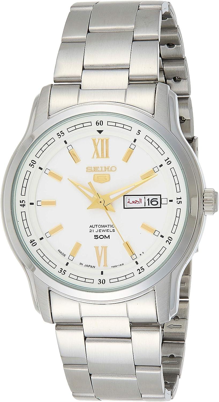 Seiko 5 SNKP15K1 - Reloj automático de Acero Inoxidable para Hombre, Esfera Blanca Plateada