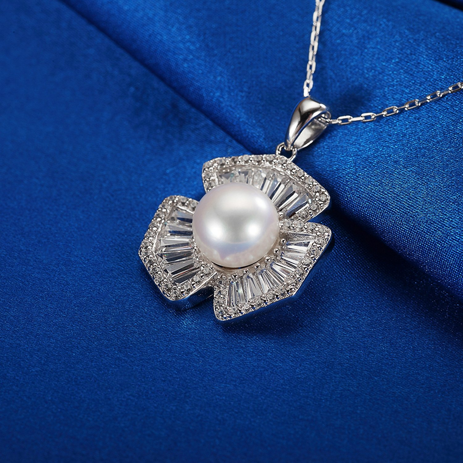CS-DB Jewelry Silver Pearl Gift with CZ Chain Charm Pendants Necklaces