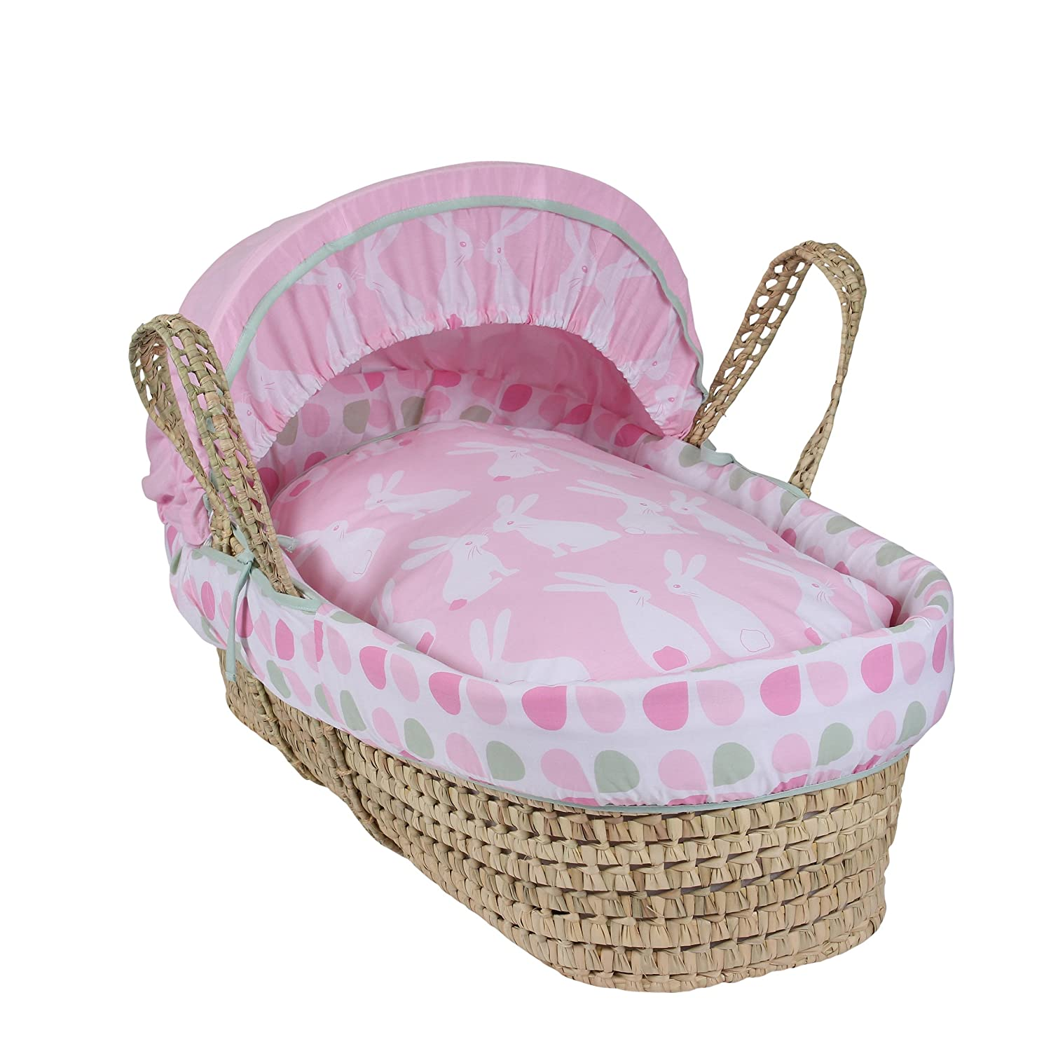 Clair de Lune Rabbits Palm Moses Basket CL5658