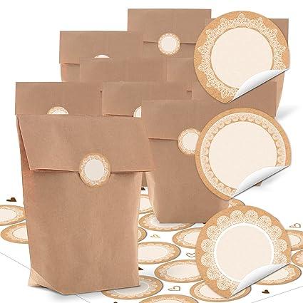 10 bolsas de papel pequeñas marrón 16,5 x 26 x 6,6 cm + 24