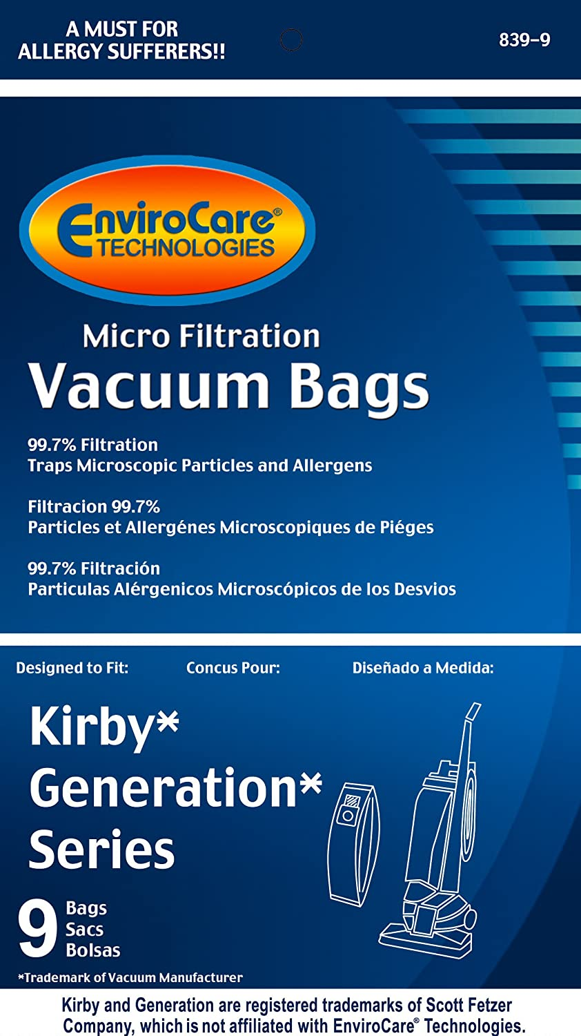 27 KIRBY GENERATION MICROFILTRATION VACUUM SWEEPER BAGS designed to fit KIRBY by envirocare Generation 4 5 6 /& UltimateG