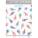 Pack It Chic - 10X13 (100 Pack) Ice Cream Pattern Poly Mailer Envelope Plastic Custom Mailing & Shipping Bags - Self Seal