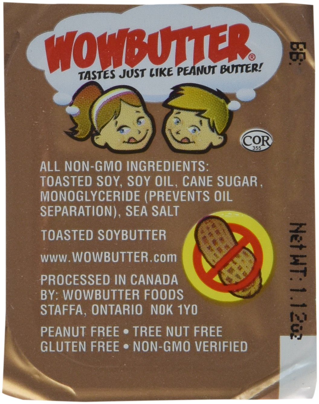 Wowbutter Natural Peanut Free Creamy 100x1.12oz Portion Cups