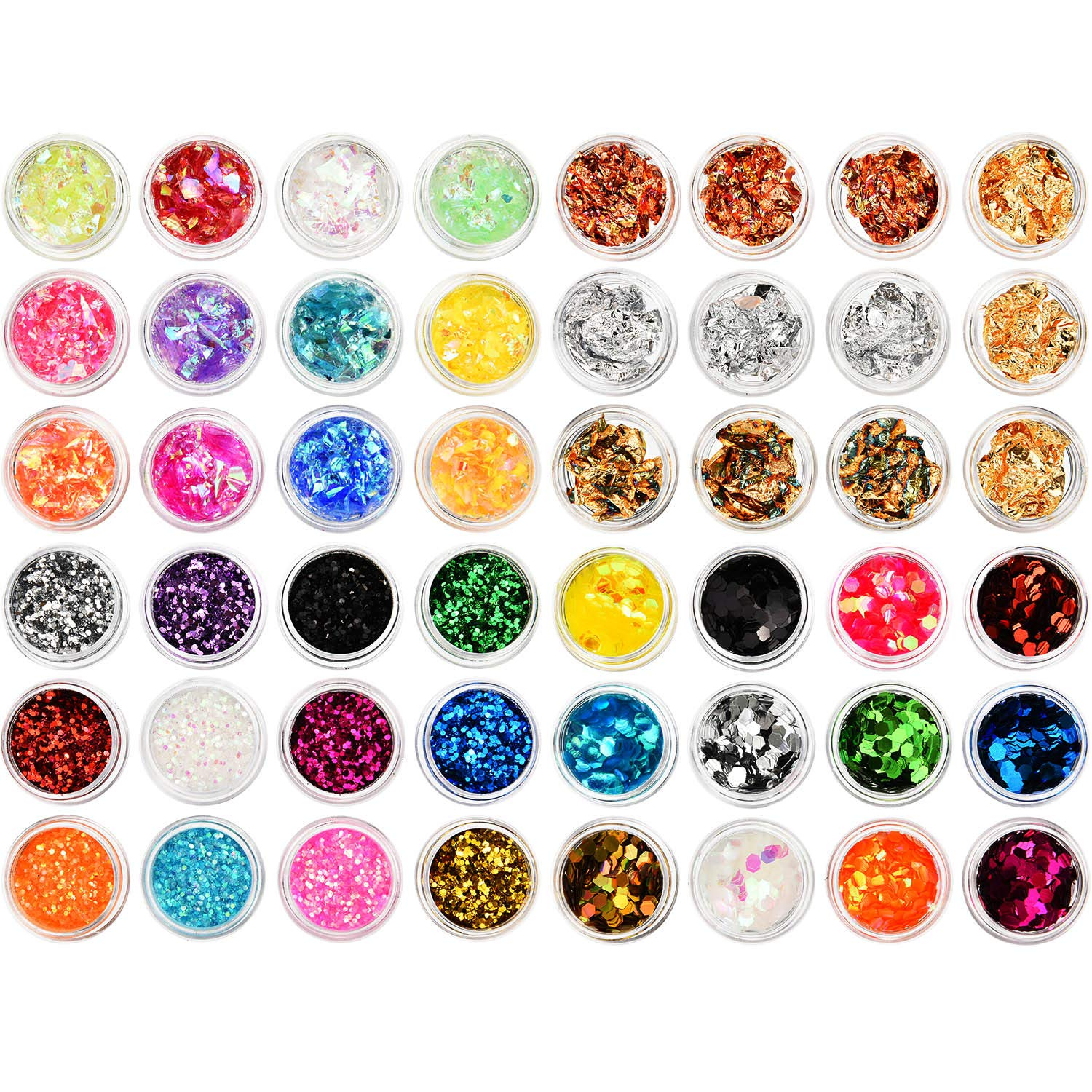 BBTO 48 Sets Nail Chunky Glitter Sequins Foil Nail Chips Ice Mylar Shell Foil Slice Mixed Nail Art Decorations by BBTO