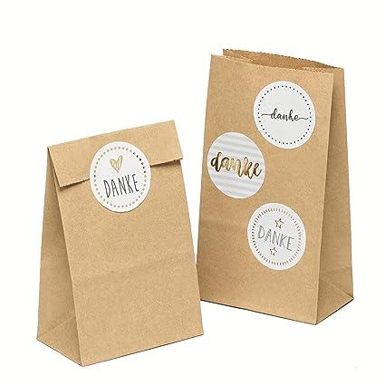 100 piezas Bolsas de Papel Regalo con pegatinas DANKE 9 x 16 x 5 cm Bolsa Biodegradable Regalos Comunión para Invitados o para Guardar Comida, ...