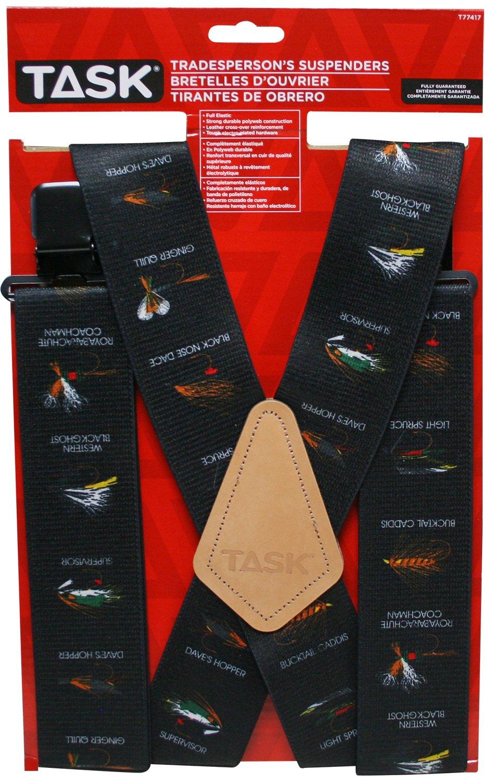 Task Tools T77417 Fly Fish Hook Pattern Tradesperson's Suspenders, Full Elastic, Black