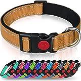 Taglory Reflective Dog Collar with Safety Locking Buckle, Adjustable Nylon Pet Collars for Medium Dogs, Tan