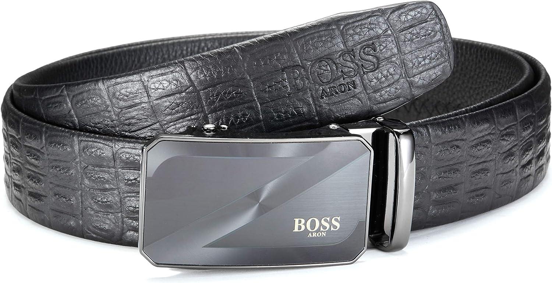 Cintura in pelle da uomo BOSS Aron regolabile con fibbia automatica da assetto per adattare! 35 mm