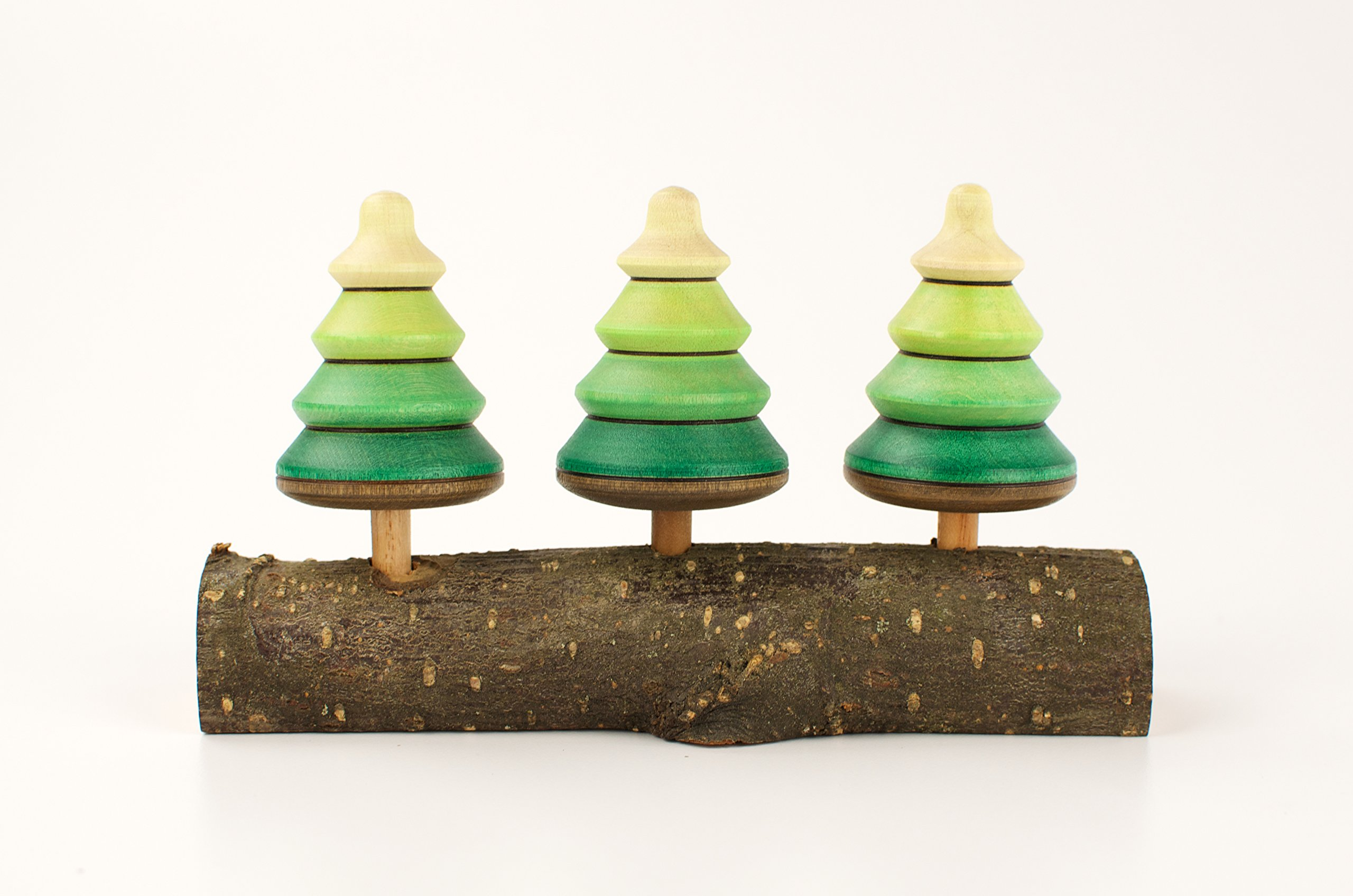 Playable ART Spinning Tree Tops - Set of 3 on a real tree branch by playableART