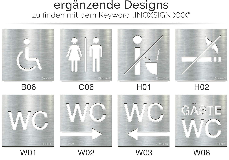Letreros para WC - señales autoadhesivas de acero inoxidable para baños - montaje sin herramientas - rótulo de inodoro - T06