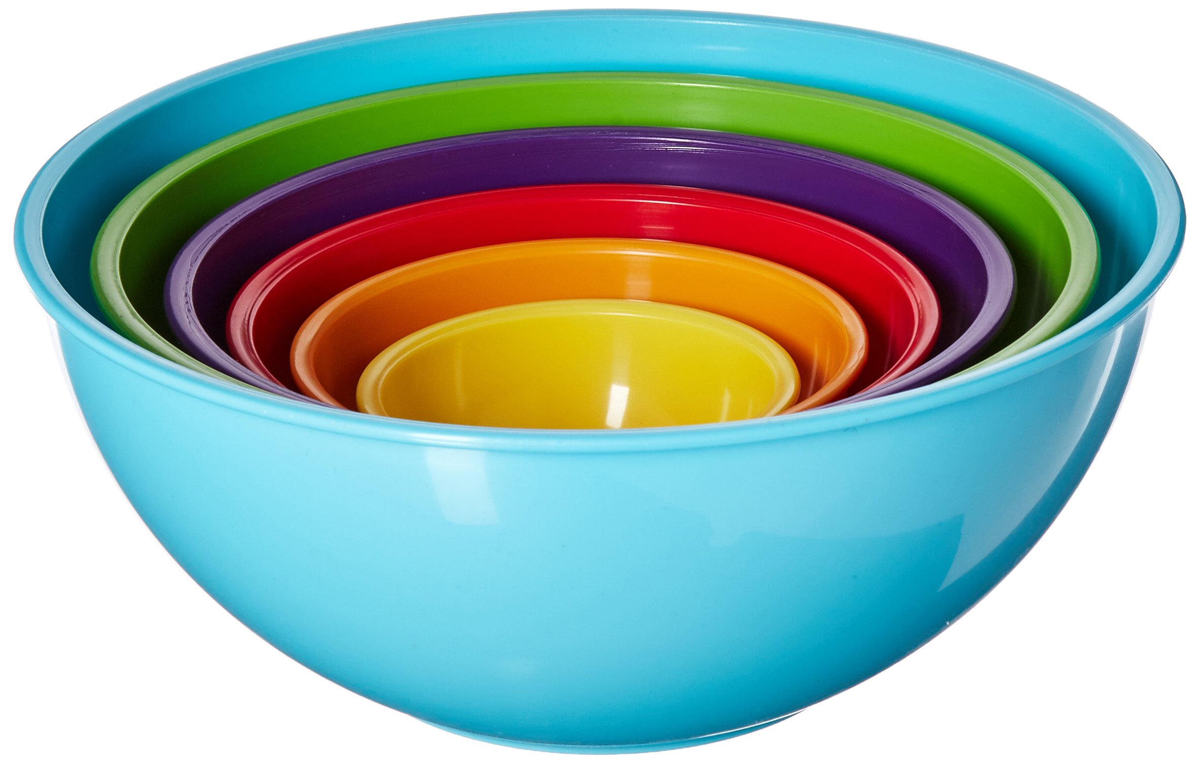 Gourmet Home Products 6 Piece Nested Polypropylene Mixing Bowl Set, Light Blue (138410)