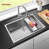 Harrahs 30.2 Inch Deep Stainless Steel Kitchen Sink Handmade Drop In Undermount Single Bowl 11G Sink Lip 18 G Basin with Drain Strainer, Grid, Basket, Soap Dispenser