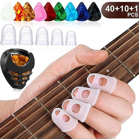40 Protectores de Dedo de Guitarra en 5 Tamaños 10 Púas de ...