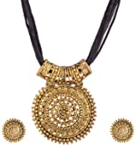 Ganapathy Gems Black Oxodised Brass With Thread Chain Metal Pendant Necklace With Earrings For Women