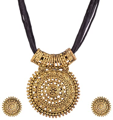 Buy ganapathy gems black oxodised brass with thread chain metal ganapathy gems black oxodised brass with thread chain metal pendant necklace with earrings for women aloadofball Images