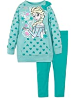 Disney Frozen Elsa Little Girls' Pullover Sweatshirt Top and Leggings Set
