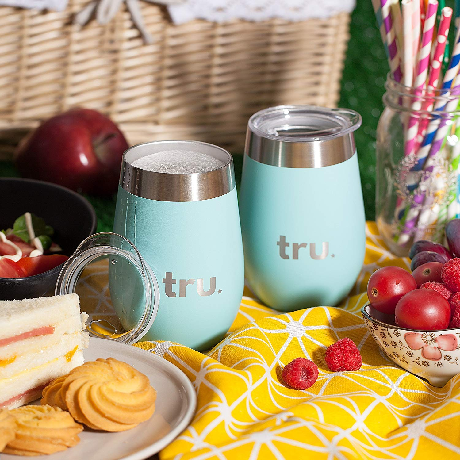 Outdoor Vacuum Insulated Wine Tumblers with Lids (Set of 2), Stainless Steel Glasses 12oz - Double Wall Stemless Metal Cup - Travel, Camping, Lightweight, Unbreakable, Portable, BPA Free by Tru Blu Steel (Image #5)