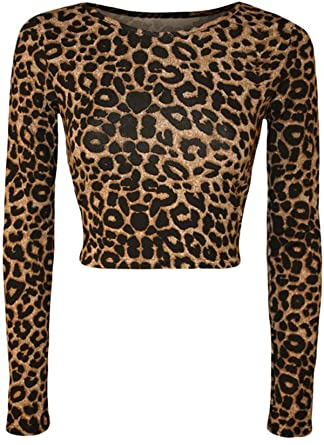 5f0edebf376 Image Unavailable. Image not available for. Color  GirlsWalk Women s Long  Sleeves Leopard Print Stretchy Short Crop Top