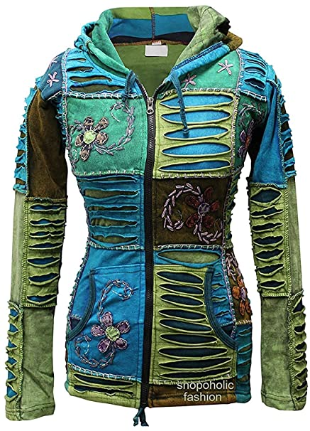 Mezcla De Azul flor bordado piexie con capucha cortes de navajas étnico hippy con capucha boho chaqueta