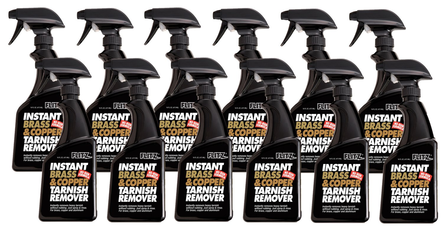 Flitz BC 01806-12A Instant Brass and Copper Tarnish Remover, 16 oz. Spray Bottle, 12-Pack