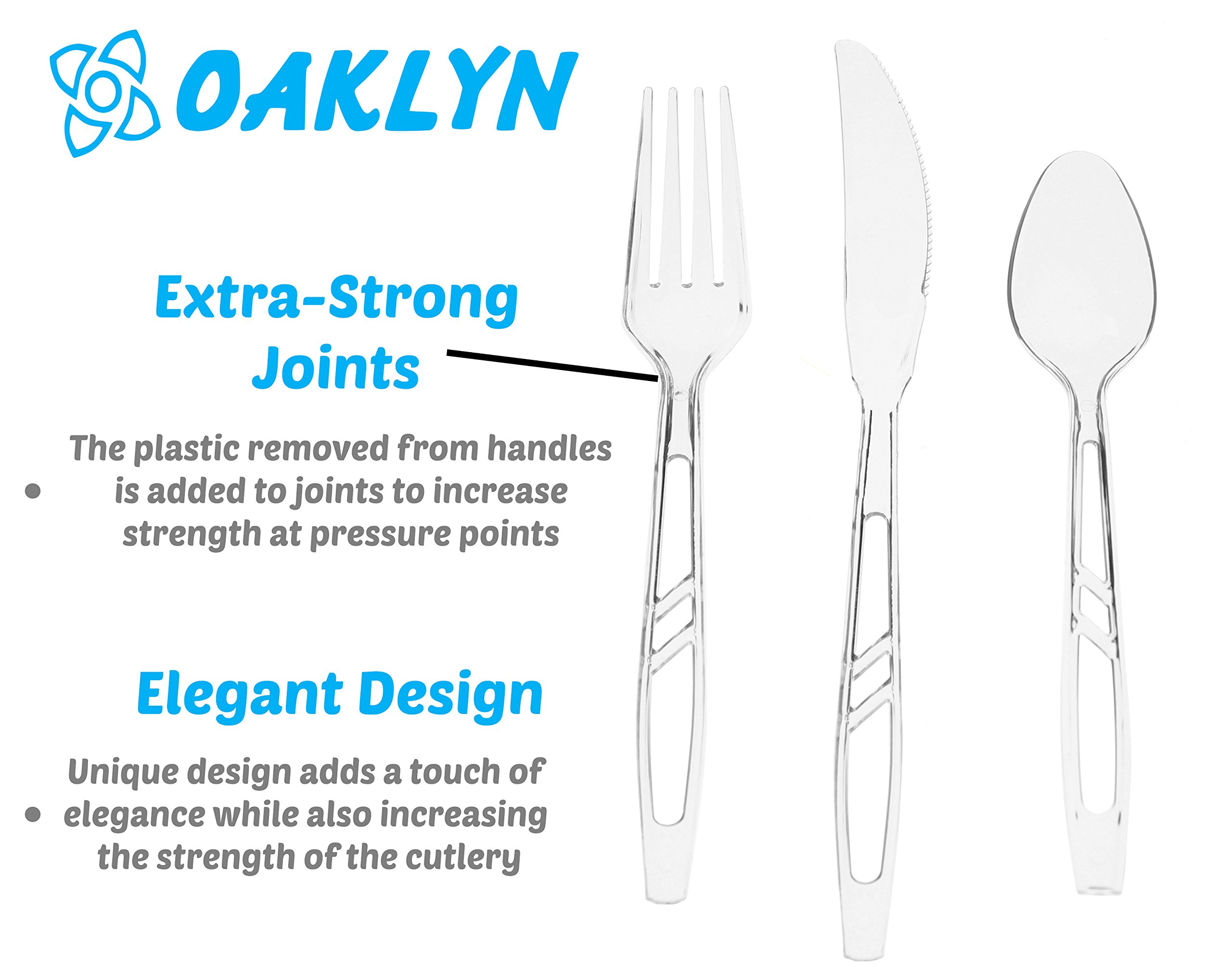 (300 Count) Heavy Duty Clear Plastic Cutlery Set - 100 Forks 100 Spoons 100 Knives - Bulk Disposable or Reusable Heavyweight Fancy Utensils by Oaklyn (Image #2)