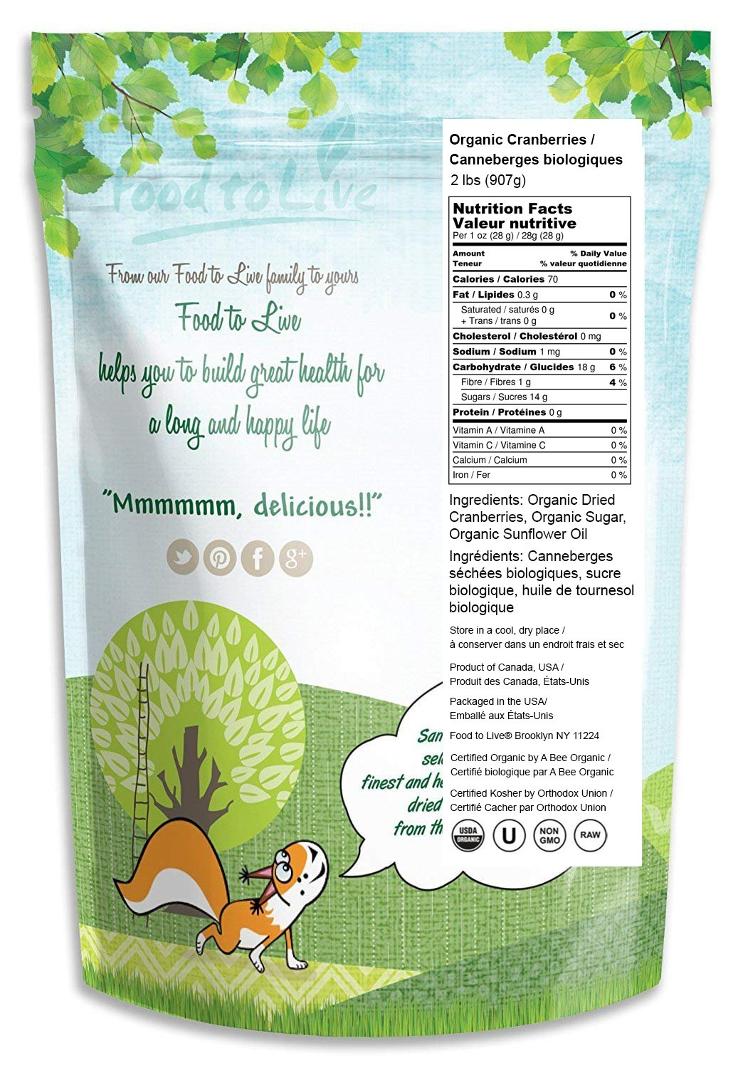 Organic Dried Cranberries, 2 Pounds — Non-GMO, Kosher, Unsulfured, Bulk by Food to Live (Image #2)
