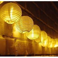 TurnRaise 4.8 Metros 20 LED Guirnaldas de Luces Farolillos Solares Exterior Impermeable para Decoración Jardines Casas Bodas (Blanco cálido)