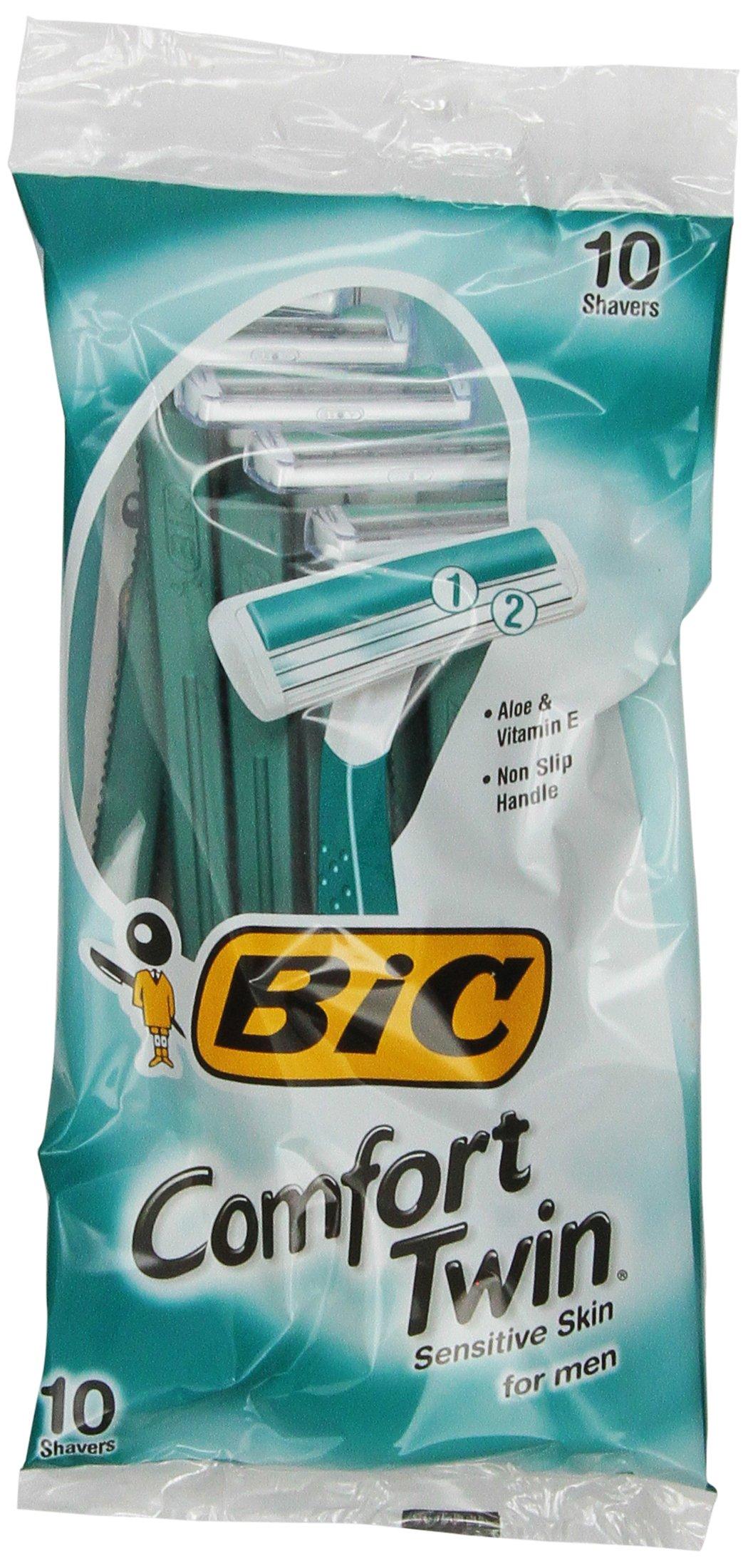 BIC Comfort Twin Blade Shaver, Men, 10-Count (Packs of 6)