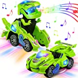 AMENON Transforming Dinosaur Car Toys with LED Light Music Automatic Deformation Dino Race Car Toys for Kids Boy Girls…