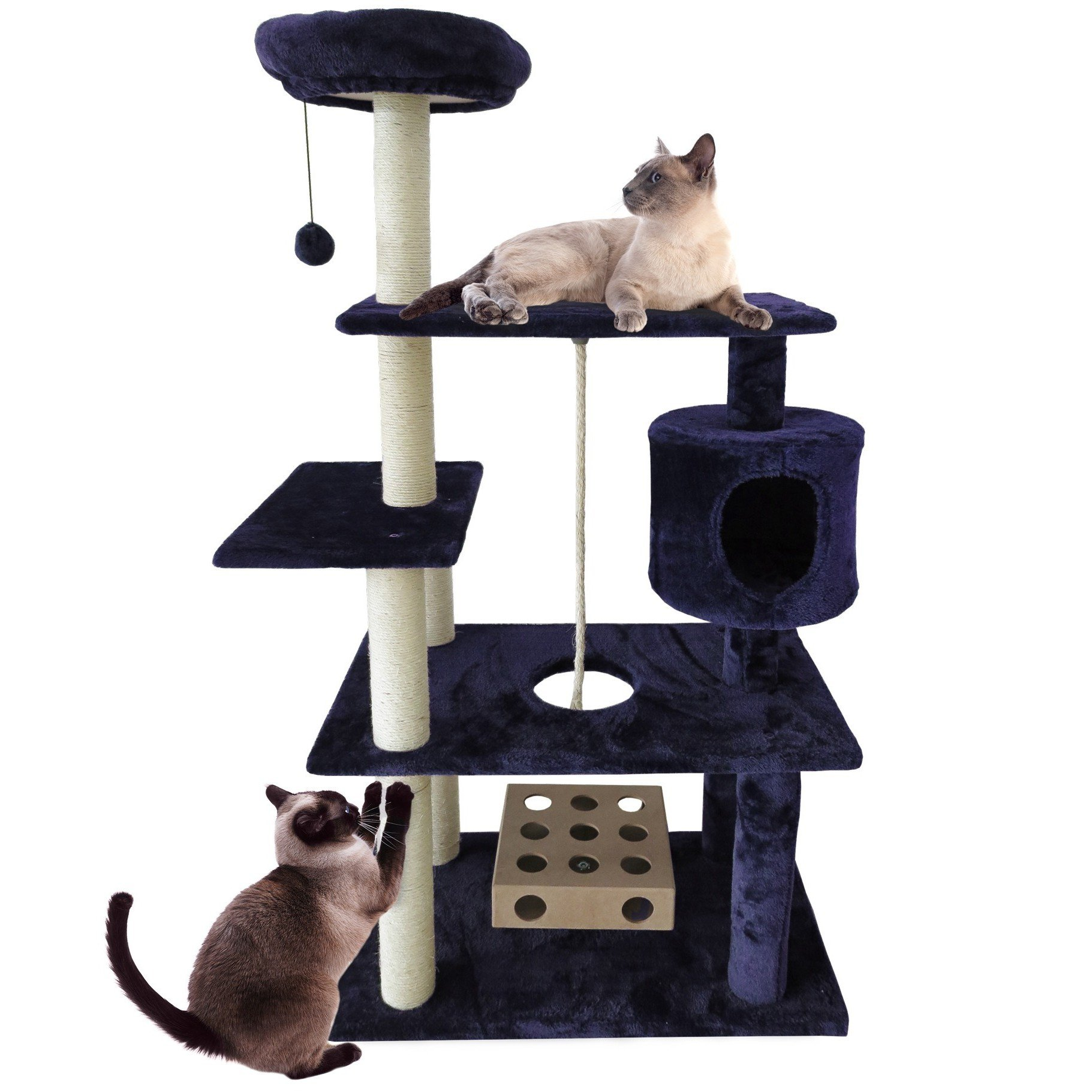 1 Piece Navy Blue 55 High Comfort Scratcher Cat Condo, Blue Color Pet Tree House Kitty Perch Cave Bed, Deluxe Playground Bungee Ball Iq Toy Elevated Safe Surface Fun Traditional, Sisal Rope