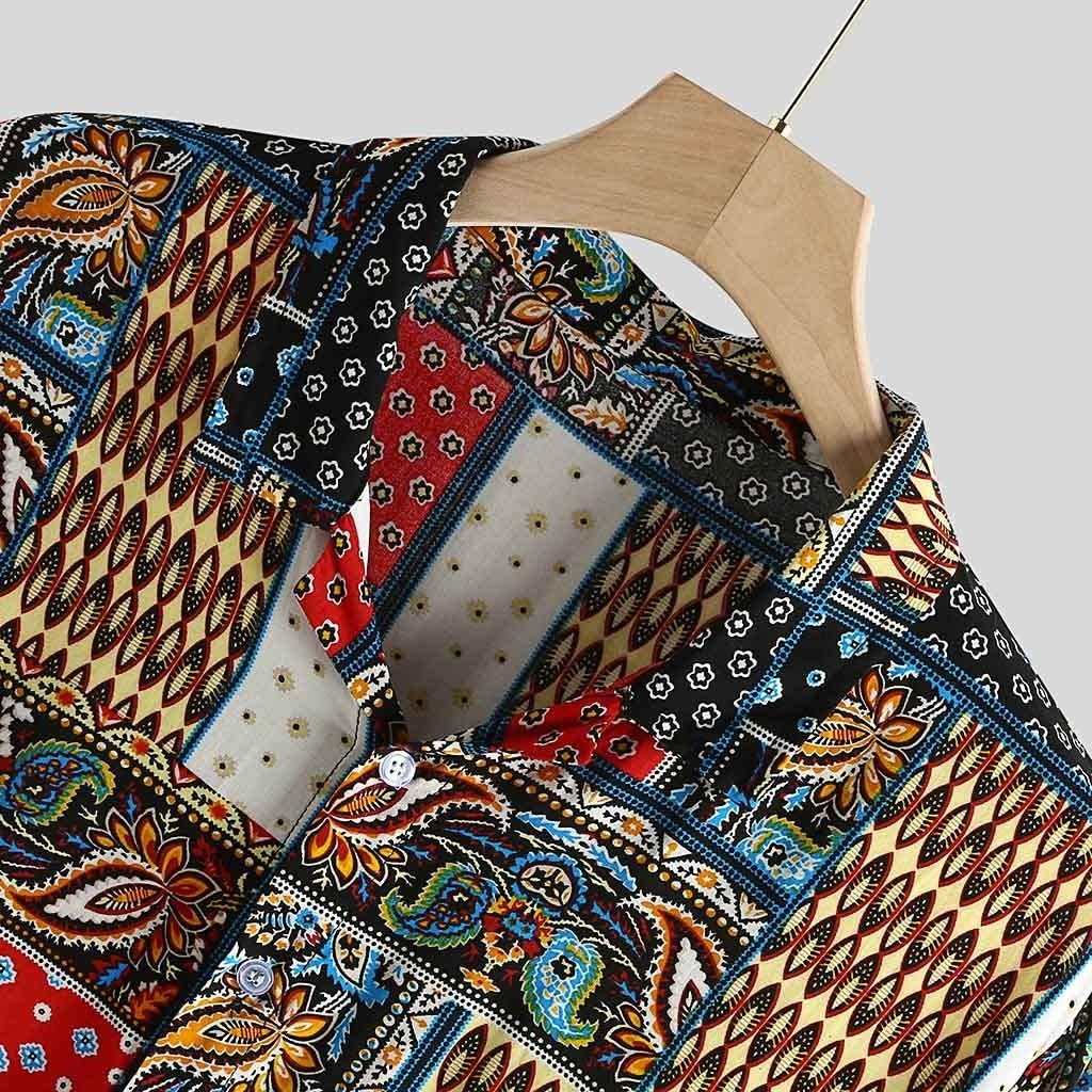 2DXuixsh Mens Casual T-Shirts Ethnic Style Colorful Printed Baggy Summer Beach Shirts Tops Breathable Beach Party Tops