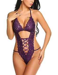 9175d856911e Avidlove Women Deep V Halter Lingerie Teddy One Piece Bodysuit Lace Babydoll