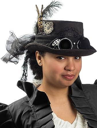Victorian Deluxe Black Top Hat Vintage Goggles Costume Hat